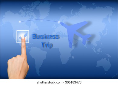 Business Trip concept with interface and world map background
