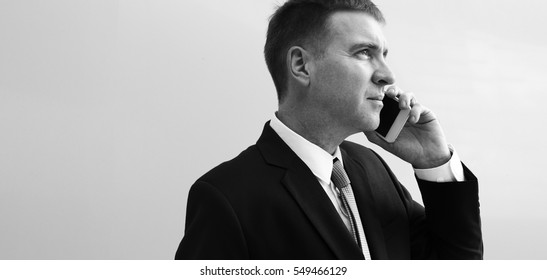 Business Using Phone Discussion Busy Working