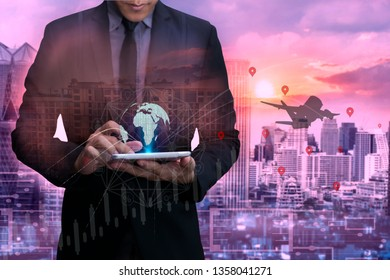 Business using tablet and world map with logistic network and city background, transport concept, Double exposure.