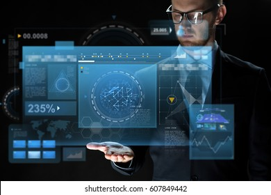 business, virtual reality, future technology and people concept - close up of businessman in suit with screens projection over dark background