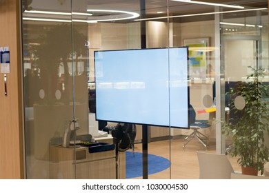 Business window shop advertising LCD television screen