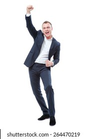 Business winner. Full length of happy young man in forma lwear celebrating, gesturing, keeping arms raised and expressing positivity. Isolated on white.
