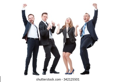 Business winners. Full length of group of happy young people in formal wear celebrating, gesturing, keeping arms raised and expressing positivity. Isolated on white.