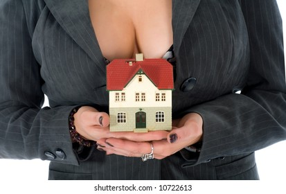 Business woman advertises real estate on white background