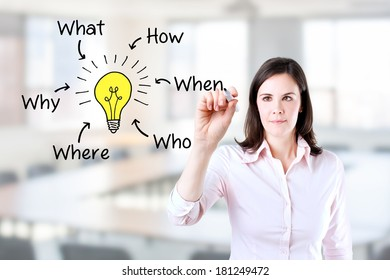 Business woman analyzing problem and find solution. Office background.