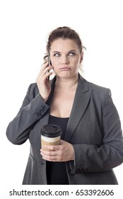 business woman annoyed talking on the phone