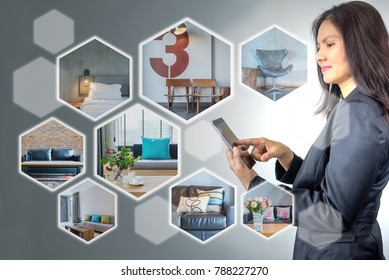 Business woman (architect - interior designer) working on futuristic virtual screen with realistic home image by connecting on mobile phone / Modern real estate & future renovation concept