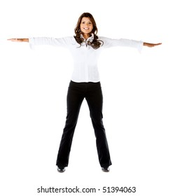 Business woman with arms outstretched isolated over a white background