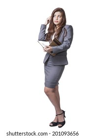 Business woman attractive young pretty in office standing enjoy using a pen writing diary note book ponder positive on white background