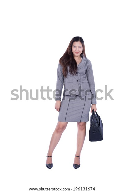 business woman with bag isolated over white background