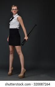 business woman with baseball bat