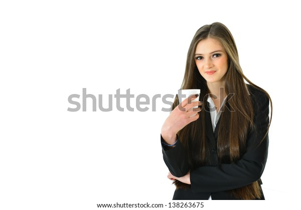 Business Woman with Beverage (1/2 view)