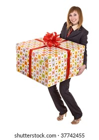 Business woman with big gift box. Isolated.
