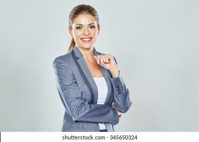 Business woman big toothy smile studio isolated portrait. Pretty female model. Confident professional office worker.