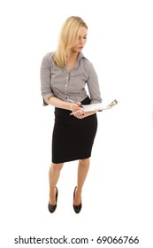 Business Woman in black skirt and white blouse holding clipboard