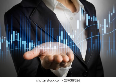 business woman in black suit with bear hand for support stock financial graph.