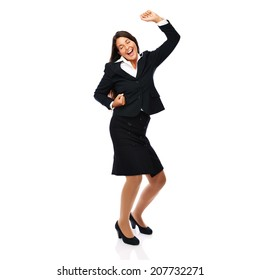 Business woman in black suit is celebrating, winning and successful. Isolated on white background.