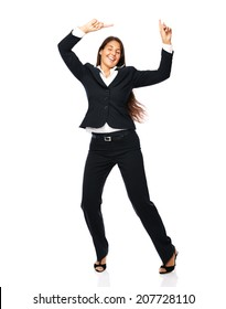 Business woman in a black suit dancing is happy cheerful.    Isolated on a white background. click for more