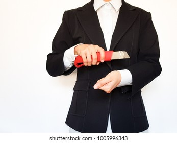 Business woman in black suit has to suicidal ideation by cutter because be unemployed and pressure, Female holding knife on white background, Business concept.