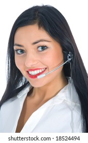 Business woman calling on white background