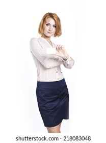 business woman with business card in hand on white. Office style.