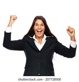 Business woman celebrating winning success.    Isolated on a white background.