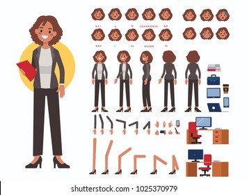 Business woman character constructor and office objects for animation.  Set of various women's poses, faces, mouth, hands, legs. Flat style illustration isolated on white background.