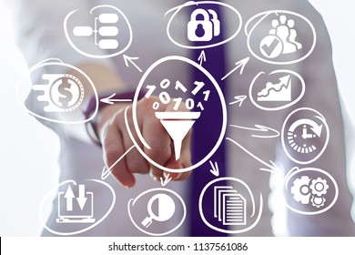 Business woman clicks a funnel with numbers zero one surrounded by specific icons. Data Filter. Digital Analysis Information. Sales. Lead Generation. Conversion Rate Optimization.