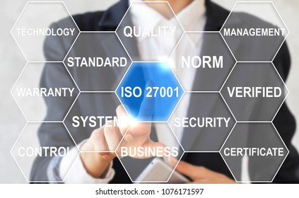 Business woman clicks iso 27001 word i surrounded by specific words. Information Security. International Organization for Standardization, requirements, certification, management, standard, iso27001.