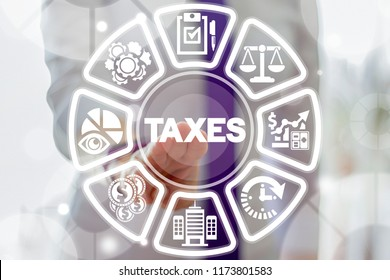 Business woman clicks a taxes word button on a virtual round panel. Tax Payment. Business, calculating finance, accounting, statistics and analytical research concept.