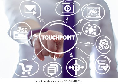 Business woman clicks a touchpoint word button on a virtual panel. Touchpoint Business Social Network concept.