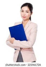 Business woman with clipboard