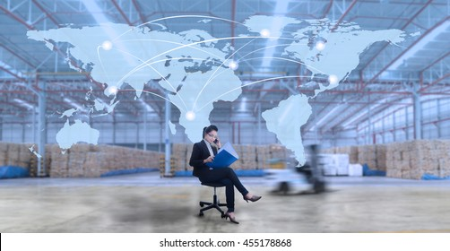 Business woman connection business logistics import export industry at large storehouse (Elements of this image furnished by NASA)