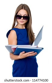 Business woman in dark glasses with a folder for documents. isolated on white background