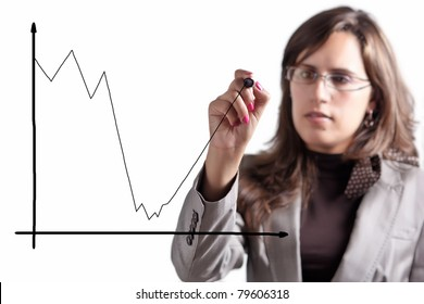 Business Woman Demonstrates that after a Moment of big Crisis comes an Exponential Growth