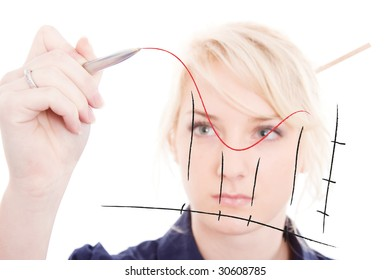 business woman designing a chart on a screen