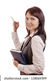 Business woman with diary in hand, shows with a pen somewhere, isolated on white background