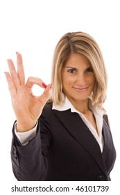 Business woman doing OK sign isolated on white