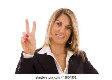 Business woman doing a victory sign