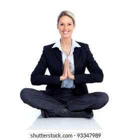 Business woman doing yoga. Isolated over white background