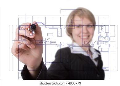 business woman draw graph over white