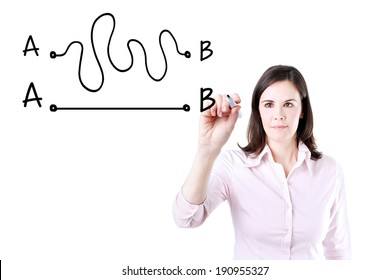 Business woman drawing a concept about the importance of finding the shortest way to move from point A to point B, or finding a simple solution to a problem.