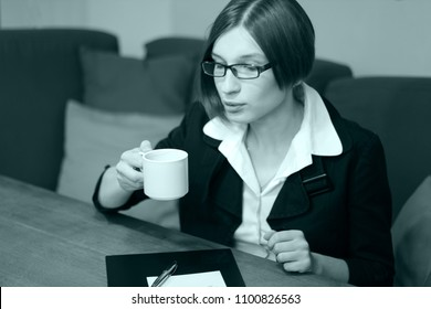 Business woman or Drink coffee. Coffee break. Lady boss. Friday. Monday. New project. Beautiful secretary. Office worker. New life. Say yes. Be happy. Be strong. Brainstorming.