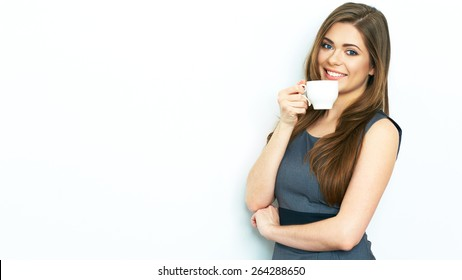 Business woman drink coffee, hold white coffee cup. Business dress code. White background. Isolated.