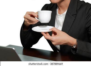 Business woman drink a coffee, tea on white background.