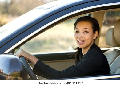 Business woman driving.