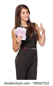 Business woman with euro money pointing finger at them, over white background
