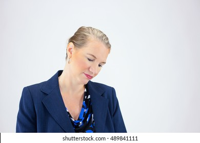 Business Woman With Finger Thinking