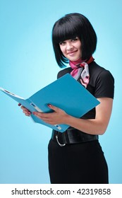 business woman with folder on a blue background