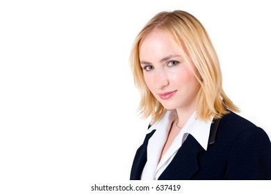 Business woman in formal black suit - copy space